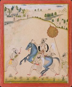 Amar Singh II, accompanied by four retainers, rides to the hunt on a prized blue-gray stallion, the chromatic and compositional focus of the painting. An inscription on the reverse tells us that the horse is from Jodhpur, a city famed for its steeds