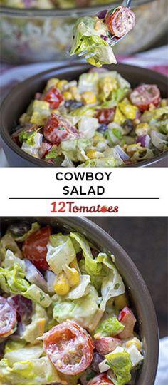 Cowboy Salad (to make it vegan use veganaise and vegan cheese) - food&drinks - Salat Cowboy Salad, Fromage Vegan, Cowboy Caviar, Cooking Recipes, Healthy Recipes, Cooking Tips, Mozzarella, Vegan Cheese, Cheese Food