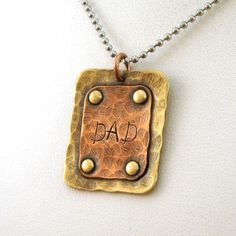 Rustic Riveted Dad Necklace - Crow Steals Fire