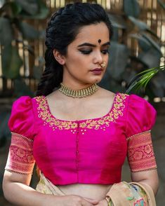 Kids Blouse Designs, Hand Work Blouse Design, Wedding Saree Blouse Designs, Pattu Saree Blouse Designs, Fancy Blouse Designs, Wedding Sarees, Stylish Dress Designs, Stylish Blouse Design, Traditional Blouse Designs