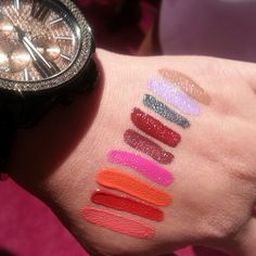 Swatches of the new #nyx liquid suede lipsticks  Ones I want: Life's a Beach, Cherry Skies, Sandstorm, Pink Lust, Tea and Cookies, Kitten Heels, Vintage
