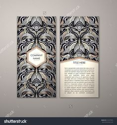 Flyer Template With Abstract Ornament Pattern. Vector Greeting Card Design. Front Page And Back Page. - 515477875 : Shutterstock