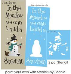 Lg STENCIL In Meadow We Build Snowman Heart Hat Crow Squirrel Primitive Signs    eBay