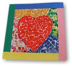 Mosaic heart: poster board, construction paper, old magazines or catalogs, glue stick