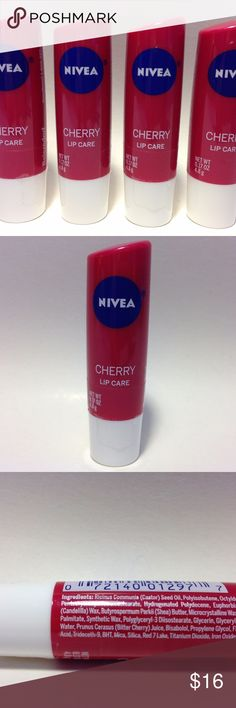 4 Nivea Cherry Lip Care Balm Lot of 4 new and sealed Nivea Lip Care Balm in Cherry flavor/scent. 0.17oz/4.8g each. Instantly hydrates lips and leaves them soft and smooth. Contains shea butter & cherry extract. Skin compatibility dermatologically tested. Nivea Makeup Lip Balm & Gloss