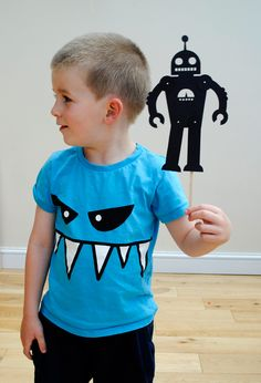 cute Robot print and cut pattern - this would be great on a wrapped box for boys