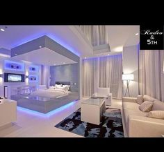 Love this Futuristic Bedroom Design Cute Bedroom Ideas, Room Ideas Bedroom, Awesome Bedrooms, Bedroom Decor, Bedroom Lighting, Nice Bedrooms, Coolest Bedrooms, Bedroom Bed, Design Bedroom