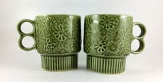 2 Vintage Retro Stackable Green Ceramic Coffee Mugs Cups Made in Japan 6 Ounce…