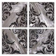 Uttermost 13733 Chiavari Metal Wall Art In Laser Cut Brushed Aluminum Set Of 4 13733