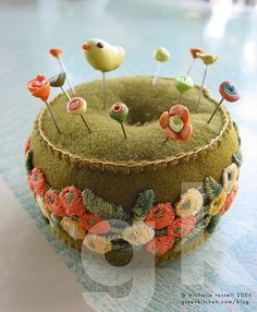 wonderful pincushion with lovely pins