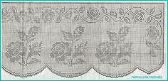 Filet crochet curtains - roses