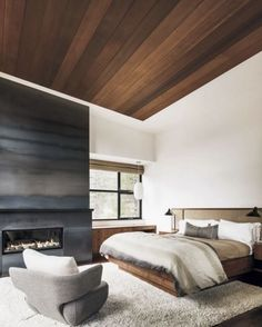 I love this bedroom.  Would like to know more about the fireplace and the chair.  D. Martin