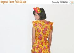 Check out SALE Floral maxi rustic dress in yellow sheer chiffon // V neck Frill Cleavage on annakshop Dresses For Sale, Dress Sale, Summer Dresses, Rustic Dresses, Boho Floral Maxi Dress, Sheer Chiffon, Trending Outfits, My Style, Casual