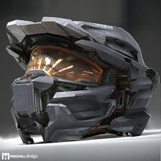 "A technical concept for a ""clamshell"" style Spartan helmet that opens and closes around a head. Futuristic Helmet, Futuristic Armour, Futuristic Design, Halo Game, Halo 5, Casco Halo, Mike Hill, Armadura Cosplay, Halo Armor"