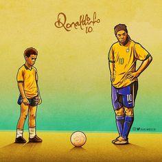 The best. Football Brazil, Neymar Football, Retro Football, Football Art, World Football, Brazil Team, Ronaldinho Wallpapers, Neymar Jr Wallpapers, Football Player Drawing