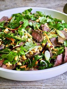 asiatisk biffsalat Frisk, Tex Mex, Spinach, Lunch, Vegetables, Cooking, Food, Cilantro, Meal