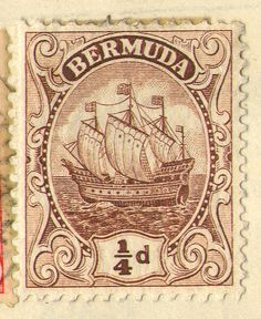 Bermuda stamp, quarter-penny, showing the Sea Venture -- the ship carrying the people who (involuntarily) settled Bermuda.