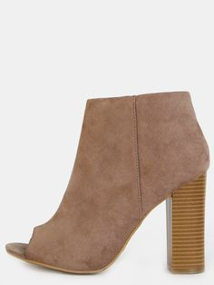 #AdoreWe #SheIn Boots - SheIn Low Cut Peep Toe Ankle Booties TAUPE - AdoreWe.com