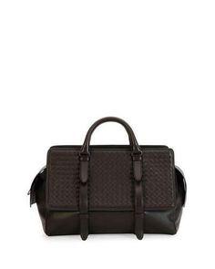 Bottega Veneta Monaco Men's Woven Leather Runway Bag, Brown