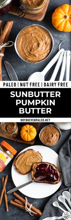 Simple pumpkin butter with SunButter (AD) - easy homemade pumpkin recipe with sunflower seed butter for a little twist. Use it as a spread dip or eat right from the jar. Best Paleo Recipes, Gourmet Recipes, Real Food Recipes, Yummy Food, Fall Recipes, Holiday Recipes, Dessert Recipes, Peanut Butter Alternatives, Paleo Menu Plan