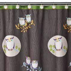 I think I might love this for the rugrat's bathroom, since he already has some lime green towels... Awesome Owls Shower Curtain - 70x71""