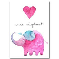 Heart and Cute Elephant Watercolor Print for Nursery Decor