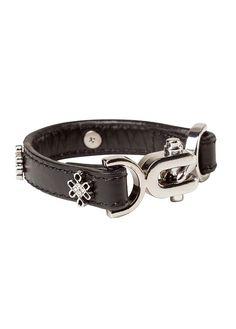 madrid cuff black leather, silver