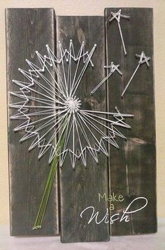 Dandelion String Art by NailedAndHammered on Etsy - Ted Lisa Pelter Goldfuss -String art for the kitchen with quote A goal without a plan is just a wish Dandelion String Art by NailedAndHammered on EtsyBildergebnis für Dandelion String Art Template String Art Diy, String Crafts, String Art Templates, String Art Patterns, Cute Crafts, Crafts To Do, Arts And Crafts, Diy Art, Arte Linear