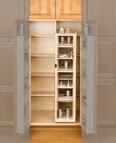 Rev A Shelf Pantry Swing Out Single w/Hardware. The Series Swing-Out Wood Pantry Systems feature industrial piano hinge, adjustable inside door and pantry shelves with chrome rails. Modern Country Kitchens, Black Kitchens, Modern Bedroom Design, Modern Room, Kitchen Pantry Cabinets, Condo Kitchen, Kitchen Remodel, Inside Doors, Rev A Shelf