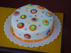 cake decorated with colored balls