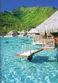 Waters so blue! Huts above water