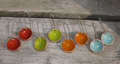 Torch fired Enamel Candy drop earrings by WashedAshoreDesigns, $40.00