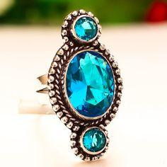BLUE-TOPAZ-GEMSTONE-925-STERLING-SILVER-JEWELRY-RING-6-25 Topaz Gemstone, Blue Topaz, Sterling Silver Jewelry, Jewelry Rings, Turquoise, Gemstones, Handmade, Hand Made, Gems