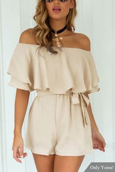 US$19.95  #Sweet# Off The Shoulder #Playsuit in #Beige