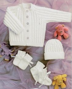 Popular free knitting patterns for babies cardigans 4 ply bhkc 35 vintage baby knitting pattern newborn cardigan hat mittens and booties set 4 ply VZSMBND - Crochet and Knit Baby Knitting Patterns, Baby Cardigan Knitting Pattern Free, Free Knitting, Knitting Needles, Mittens Pattern, Sweater Patterns, Finger Knitting, Knitting Machine, Double Knitting