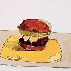 Hamburger on Yellow Plate, John Azoni