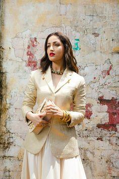 Beautiful Bollywood Actress, Indian Celebrities, Indian Actresses, Designer Dresses, Bell Sleeve Top, Girls Dresses, Saree, Blazer, My Style