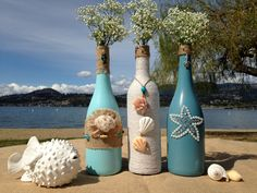 Super ideas for wedding beach diy wine bottles Recycled Wine Bottles, Painted Wine Bottles, Decorated Bottles, Glass Bottle Crafts, Wine Bottle Art, Bottle Lamps, Beer Bottles, Beach Theme Centerpieces, Glass Centerpieces