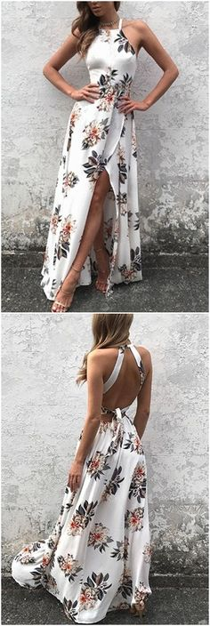 White Side Split Back Lace-up Random Floral Print Sleeveless Dress M1909