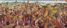 Memling. Seven Joys of mary. For this panorama of the Nativity, Mwmling may have found his model in medieval stagecraft and in the pomp of the Burgundian court. The setting is Jerusalem...