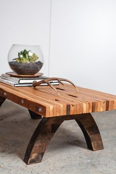 reclaimed wood bolted slab coffee table. $450.00, via Etsy.