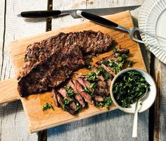 Grilled Skirt Steak with Herb Salsa Verde | Epicurious.com