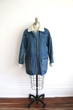 ON SALE Vintage 80s Women's Denim Smock Coat with by vauxvintage, $57.60