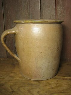 Awesome Old Unusual Salt Glaze Stoneware Crock Jar w. Applied Handle from Hannah's House Antiques