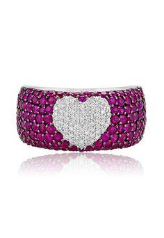Effy 14K White Gold Ruby and Diamond Heart Ring, 3.24 TCW
