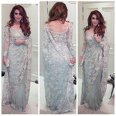 Pakistani Bridal Dresses, Indian Dresses, Indian Outfits, Pakistani Couture, Pakistani Outfits, Indian Clothes, Lace Saree, Saree Dress, Trendy Sarees