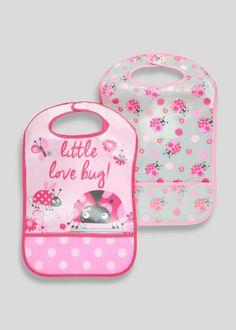 Girls 2 Pack Lady Bug Bibs (One Size) - Matalan