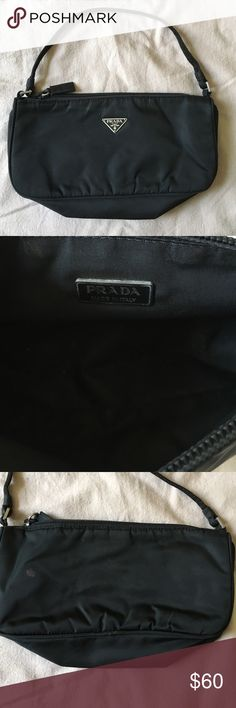 "Authentic PRADA Nylon Bag EUC with one mark on the back- faded pink nail polish, zipper works great, approx. 9.5"" l x 2"" w x 4.75"" h, thanks! Prada Bags"