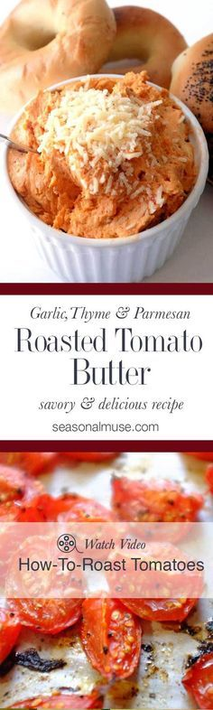 Roasted Tomato Butter Savory and delicious. Intense tomato flavor with garlic and thyme shine in this butter and cream cheese blend. Perfect on a bagel - great melted on pasta Flavored Butter, Homemade Butter, Vegan Butter, Antipasto, Quick Pasta Sauce, Sauces, Dips, Roasted Tomatoes, Dressings