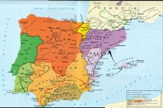 Map Of Spain, Spain History, Medieval, Iberian Peninsula, Mystery Of History, Historical Maps, Middle Ages, Planer, Spanish